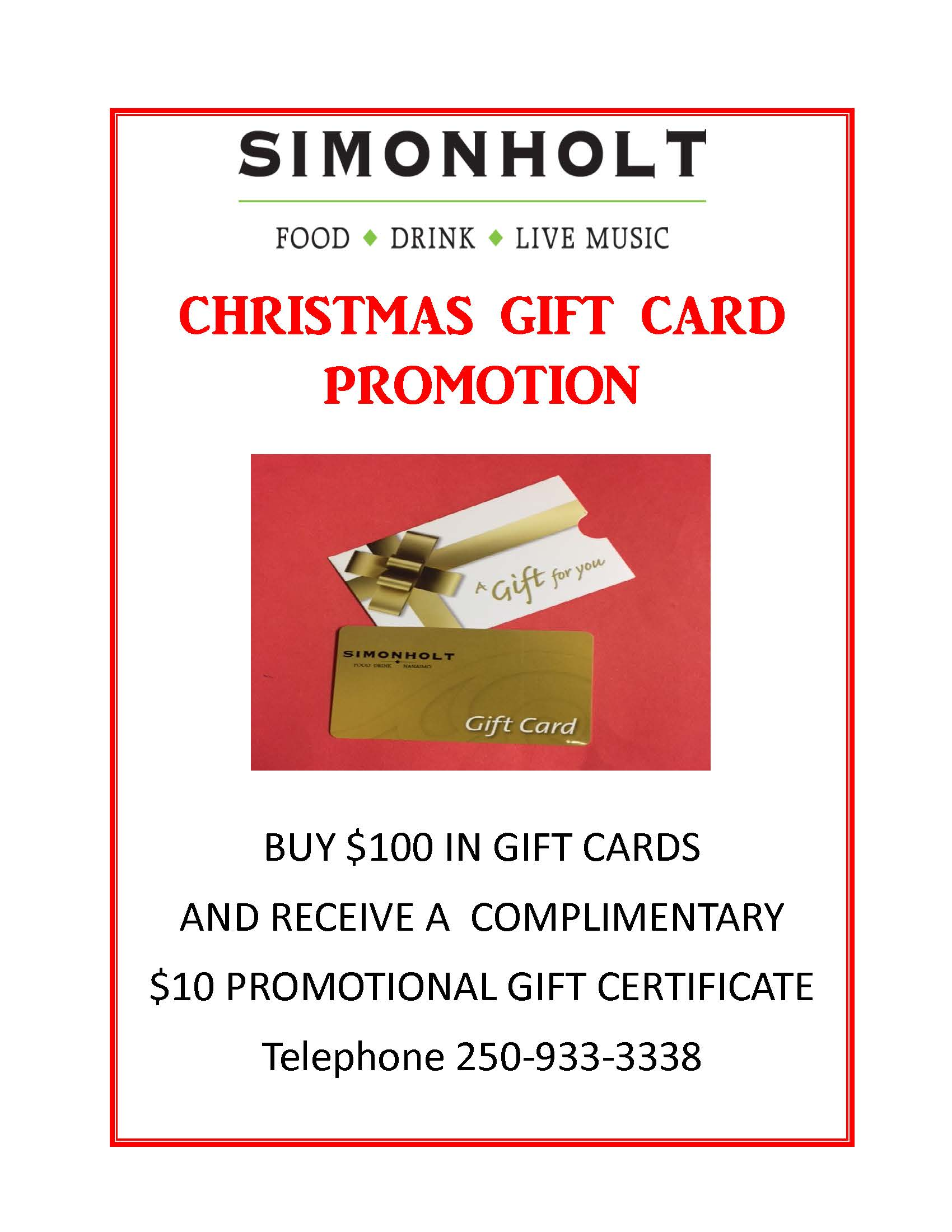 christmas gift card promotion simonholt restaurant food drink live music - Christmas Gift Card Deals