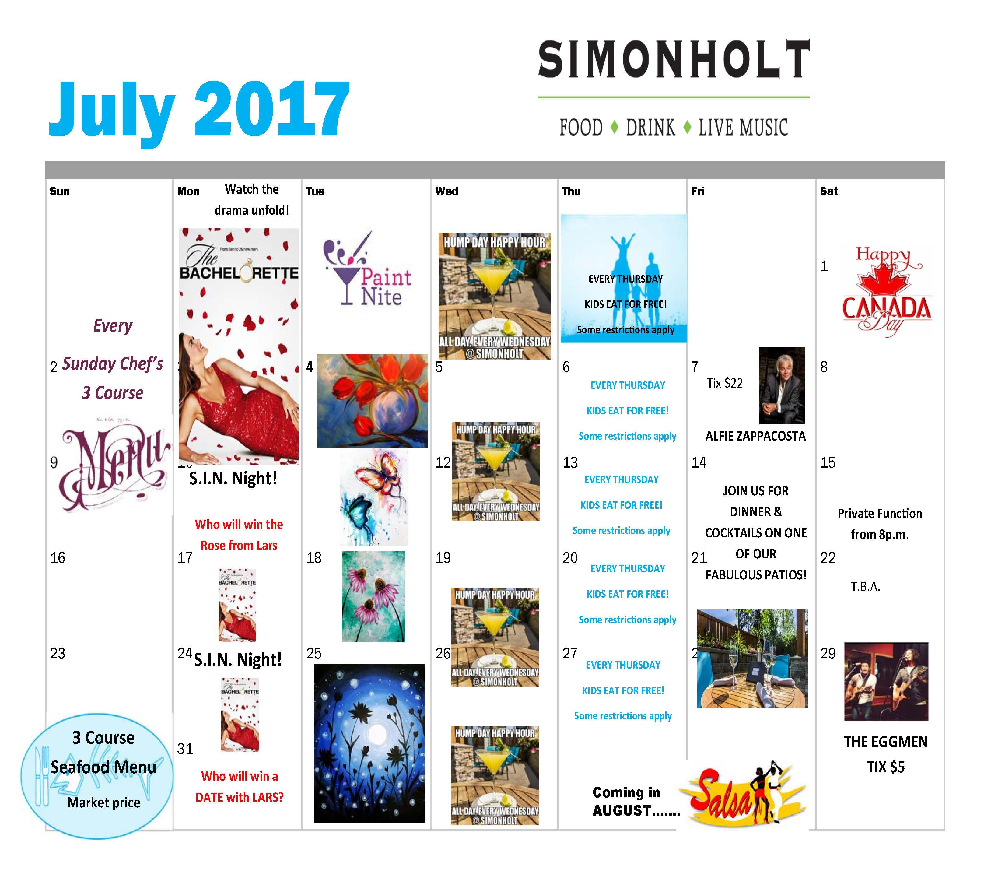 Simonholt July 2017 Calendar   SIMONHOLT Restaurant   FOOD