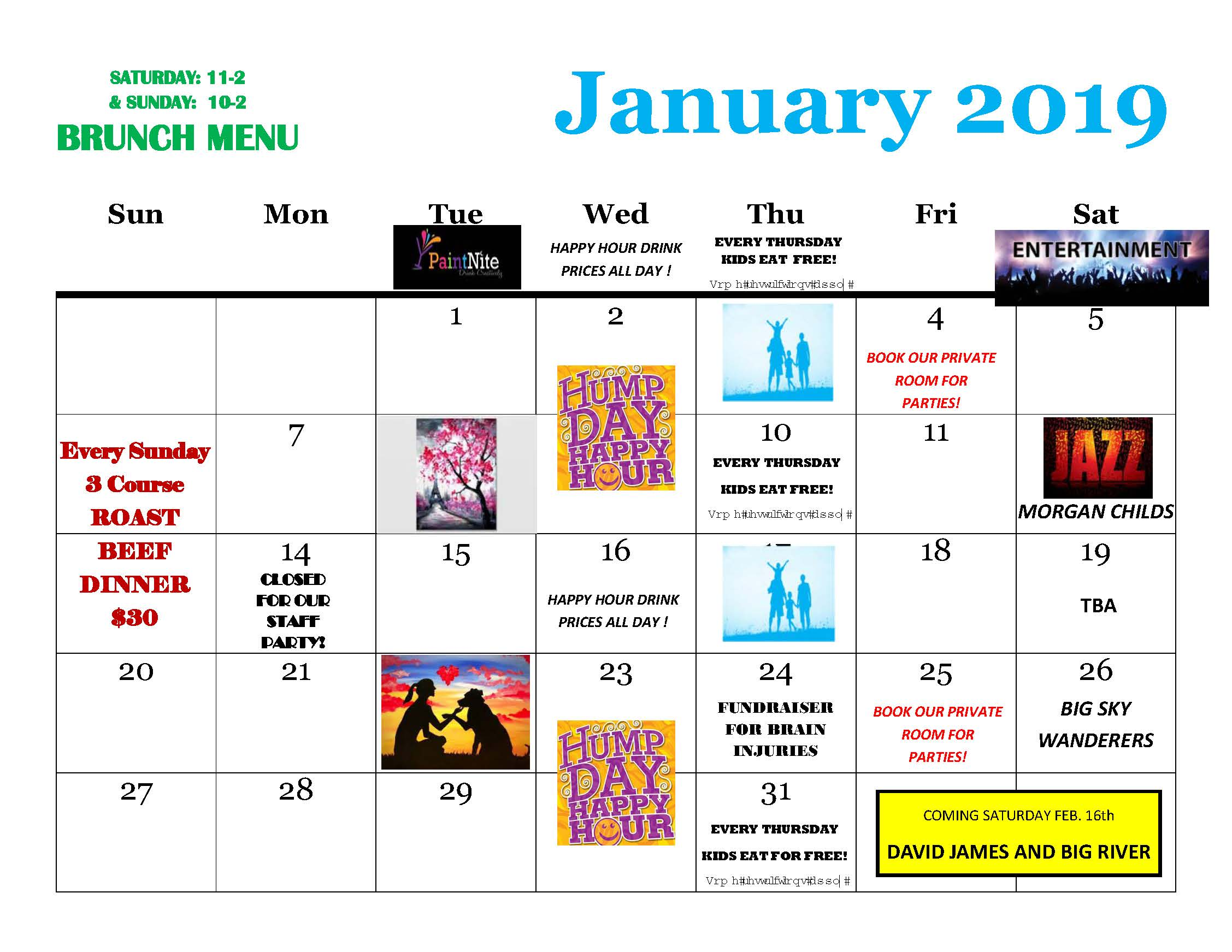 Jan 2019 Calendar Simonholt Restaurant Food Drink Live